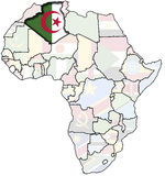 Algeria on africa map. Flag of algeria on africa map Royalty Free Stock Photo