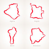 Algeria, Angola, Benin and Botswana - Outline Map. Outline map of Algeria, Angola, Benin and Botswana marked with red line Stock Photo