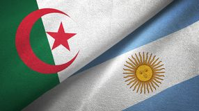 Algeria and Argentina two flags textile cloth, fabric texture. Algeria and Argentina flags together textile cloth, fabric texture vector illustration