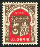 Arms. ALGERIA - CIRCA 1946: stamp printed by Algeria, shows arms, circa 1946 royalty free stock images