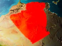Orbit view of Algeria. Algeria in early morning light highlighted in red on planet Earth. 3D illustration. Elements of this image furnished by NASA Stock Images