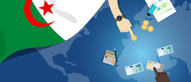 Algeria economy fiscal money trade concept illustration of financial banking budget with flag map and currency. Vector Stock Photo