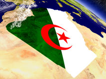 Algeria with embedded flag on Earth Royalty Free Stock Image