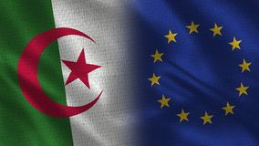 Algeria and European Union Realistic Half Flags Together. Fabric Texture - High Quality vector illustration