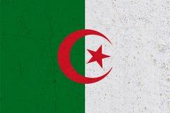 Algeria flag on concrete wall. Patriotic grunge background. National flag of Algeria royalty free stock image