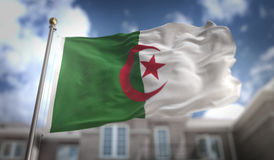 Algeria Flag 3D Rendering on Blue Sky Building Background Stock Photo
