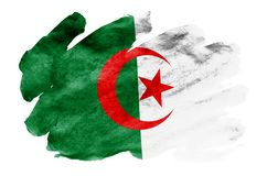 Algeria flag is depicted in liquid watercolor style isolated on white background. Careless paint shading with image of national flag. Independence Day banner stock illustration