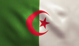 Algeria Flag. With fabric texture. 3D illustration Royalty Free Stock Image