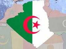 Algeria with flag on globe Stock Image