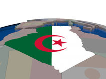 Algeria with flag. Flag of Algeria on globe. Official flag colours, accurate country borders. 3D illustration Stock Photos