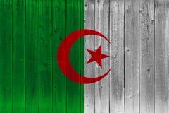 Algeria flag painted on old wood plank. Patriotic background. National flag of Algeria royalty free illustration