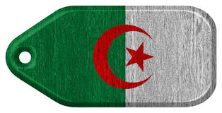 Algeria flag. Painted on wooden tag Royalty Free Stock Photography