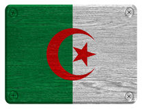 Algeria flag. Painted on wooden tag stock photo
