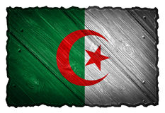 Algeria flag. Painted on wooden tag royalty free stock photos