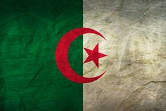 Algeria Flag on Paper. Algerian Flag on old Paper Texture Stock Photography