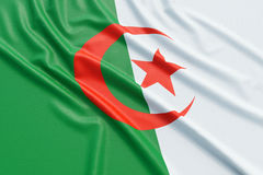 Algeria flag. Wavy fabric high detailed texture. 3d illustration rendering Stock Images