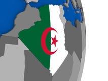 Algeria on globe with flag Stock Images