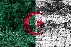 Algeria grunge rusted metal texture flag, rust metal background.  stock photo