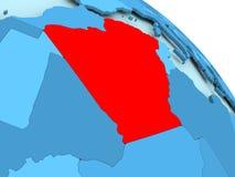 Algeria on blue globe. Algeria highlighted on blue 3D model of political globe. 3D illustration Royalty Free Stock Photos