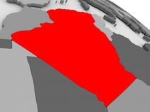 Algeria. Highlighted in red on model of globe. 3D illustration Stock Photography