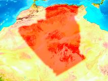 Algeria in red on Earth. Algeria highlighted in red on planet Earth. 3D illustration. Elements of this image furnished by NASA Royalty Free Stock Photos