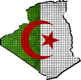 Algeria map with flag inside. Illustration Royalty Free Stock Photo