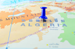 Algeria map. Macro shot of algeria map with push pin stock photos