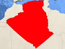 Algeria on map. Algeria in red on political map with watery oceans. 3D illustration Stock Photo