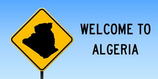 Algeria map on road sign. Wide poster with Algeria country map on yellow rhomb road sign. Vector illustration Royalty Free Stock Photos