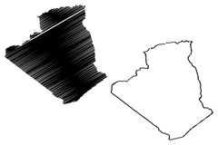 Algeria map vector. Illustration, scribble sketch Algiers Royalty Free Stock Image
