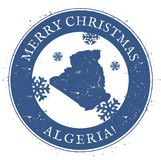 Algeria map. Vintage Merry Christmas Algeria. Algeria map. Vintage Merry Christmas Algeria Stamp. Stylised rubber stamp with county map and Merry Christmas text Stock Photography