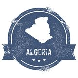 Algeria mark. Travel rubber stamp with the name and map of Algeria, vector illustration. Can be used as insignia, logotype, label, sticker or badge of the Stock Photo