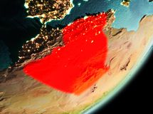 Morning view of Algeria. Algeria in the morning highlighted in red on planet Earth. 3D illustration. Elements of this image furnished by NASA Royalty Free Stock Photography