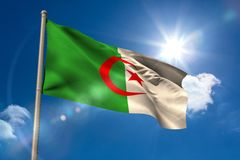 Algeria national flag on flagpole Royalty Free Stock Photo