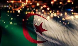 Algeria National Flag Light Night Bokeh Abstract Background. Art Stock Image