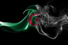 Algeria national smoke flag. Algeria smoke flag isolated on a black background Stock Photos