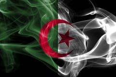 Algeria national smoke flag. Algeria smoke flag isolated on a black background stock image