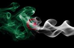 Algeria national smoke flag. Algeria smoke flag isolated on a black background Stock Images