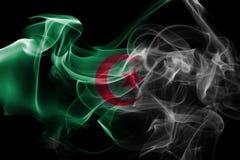 Algeria national smoke flag. Algeria smoke flag isolated on a black background Royalty Free Stock Images