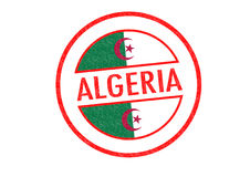 ALGERIA. Passport-style ALGERIA rubber stamp over a white background Stock Photography