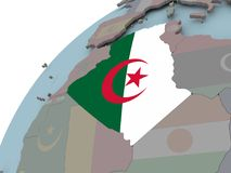 Map of Algeria with flag. Algeria on political globe with embedded flags. 3D illustration Stock Photography