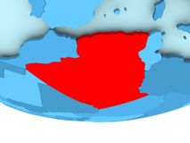 Algeria in red on blue map Stock Photo