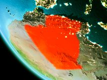 Algeria in red in the evening. Country of Algeria in red on planet Earth in the evening. 3D illustration. Elements of this image furnished by NASA Stock Photo