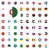 Algeria round flag icon. Round World Flags Vector illustration Icons Set. Algeria round flag icon. Round World Flags Vector illustration Icons Set Stock Images