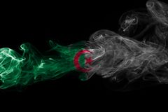 Algeria national smoke flag  on a black background. Algeria smoke flag  on a black background Stock Images