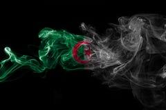 Algeria national smoke flag on a black background. Algeria smoke flag on a black background stock photos