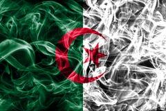 Algeria smoke flag on a black background.  stock image