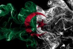 Algeria smoke flag on a black background.  Royalty Free Stock Image