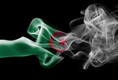 Algeria national smoke flag. Algeria smoke flag isolated on a black background Stock Photo