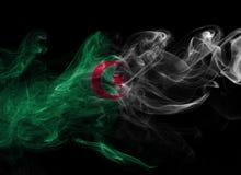 Algeria national smoke flag. Algeria smoke flag isolated on a black background Stock Photography